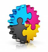 image of puzzle  - Creative color printing computer technology - JPG