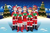 stock photo of singing  - A vector illustration of happy kids singing in Christmas choir - JPG
