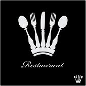 picture of chef knife  - vector sign for restaurant with crown - JPG