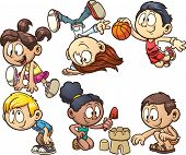 stock photo of leaping  - Cartoon kids playing - JPG