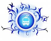 picture of railcar  - railcar icon on blue decorative button - JPG