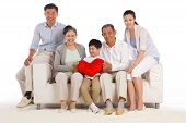 stock photo of east-indian  - A shot of Whole family and sit on sofa - JPG