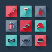 Set of retro fashion icons in flat design style.