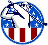picture of iron star  - Illustration of an American golfer playing golf swinging club set inside circle with USA stars and stripes flag on isolated background - JPG