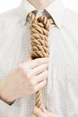 picture of gallows  - Businessman with gallow rope over his neck - JPG