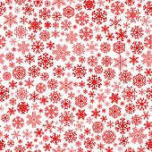 stock photo of ice crystal  - Christmas seamless pattern from red snowflakes on white background - JPG
