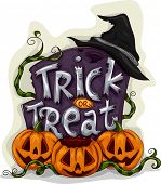 foto of tombstone  - Halloween Illustration of a Tombstone with Trick or Treat Written on It - JPG