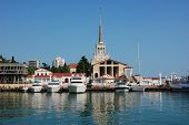 image of sochi  - Marine Station of Sochi on the background of sea and sky - JPG