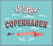 stock photo of copenhagen  - Vintage greeting card from Copenhagen  - JPG