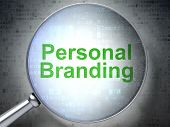 Marketing concept: Personal Branding with optical glass poster
