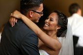 stock photo of blush  - Bride and grooms first dance - JPG