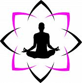 picture of namaskar  - Yoga fitness with abstract lotus icon for business - JPG