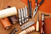 stock photo of thread-making  - DIY leather craft tool - JPG