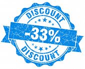 Discount 33% Blue Grunge Stamp