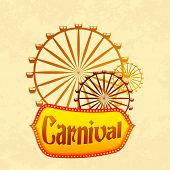 image of carnival ride  - vector illustration of giant wheel in retro carnival poster - JPG