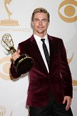 LOS ANGELES - SEP 22:  Derek Hough at the 65th Emmy Awards - Press Room at Nokia Theater on Septembe