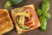 stock photo of champignons  - Toasted bread with grilled vegetables - JPG