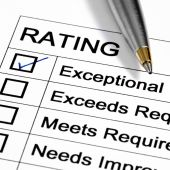 "image of performance evaluation  - ""Exceptional"" rating marked with pen. Could be performance appraisal customer service rating business performance evaluation. - JPG"