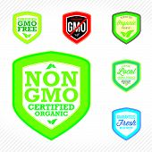 pic of modifier  - Non GMO or GMO free labels to indicate non genetically modified foods or on organic product packaging - JPG