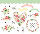 Wedding graphic set, wreath, flowers, arrows, hearts, laurel, ribbons and labels.  poster