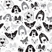 stock photo of poodle  - Seamless poodle dogs and puppy illustration hand drawn background pattern in vector - JPG