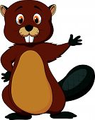 image of beaver  - Vector illustration of Cute beaver cartoon waving - JPG