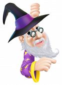 picture of peep  - A cartoon wizard character peeping round a sign or banner and pointing - JPG