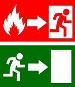 Vector fire exit signs