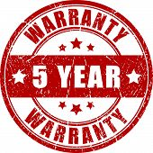 Five year warranty stamp poster
