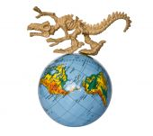 foto of dinosaur skeleton  - toy dino skeleton prowling around the globe - JPG