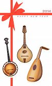 stock photo of banjo  - An Illustration of A Beautiful Antique Musical Instrument Strings Bluegrass Mandolin Banjo and Lute on 2014 New Year Card  - JPG