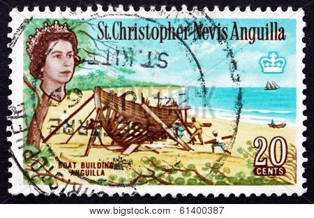 Postage Stamp St. Christopher-nevis-anguilla 1963 Boat Building