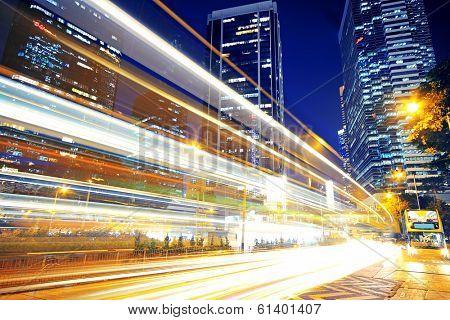hong kong modern city High speed traffic and blurred light trails