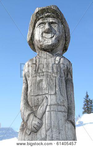 Wooden Statue In Ski Centre Smrekovica, Slovakia