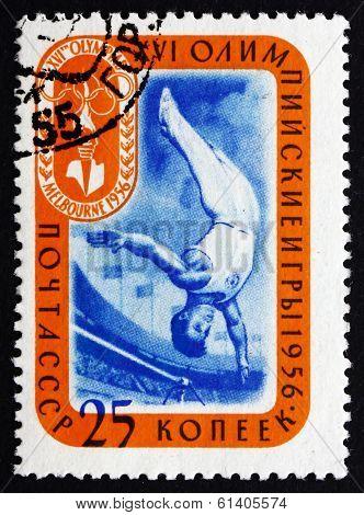 Postage Stamp Russia 1957 Somersault, Gymnast
