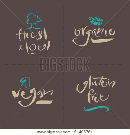 Vegetarian Collection - Organic - Fresh & Local - Gluten Free - Vegan - Calligraphy