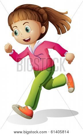 Illustration of a young lady jogging on a white background