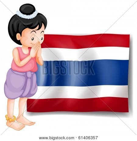 Illustration of a young girl from Thailand standing in front of the flag on a white background