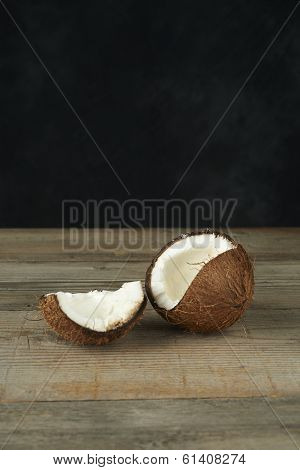Tropical Coconut, On A Wooden Table