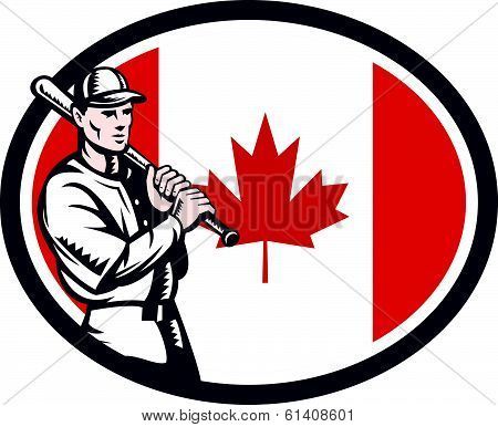 Canadian Baseball Batter Canada Flag Retro
