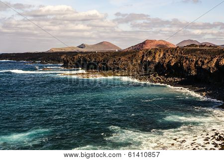 Los Hervideros, Lanzarote, Canary Islands. The Place Where Lava Was Going To The Ocean