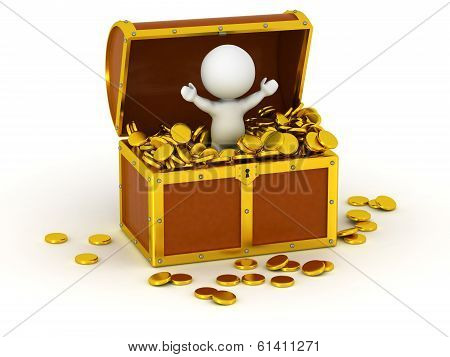 3D Character inside Treasure Chest with Gold Coins