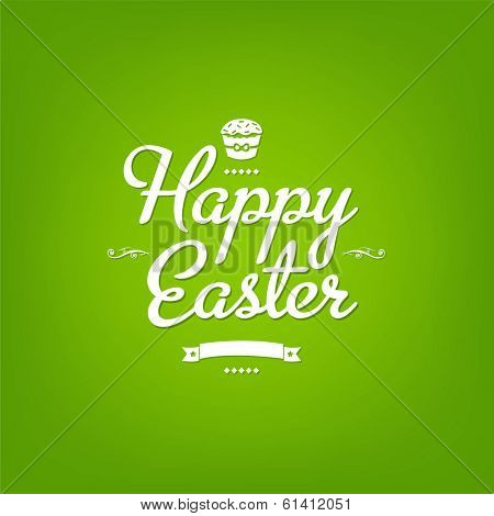 Happy Easter Green Card, With Gradient Mesh, Vector