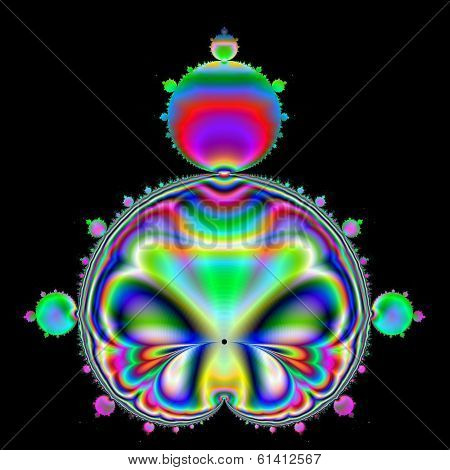 Multicolored Mandelbrot set with black background.