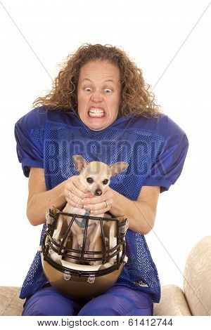 Woman Football Player Dog In Helmet Choke