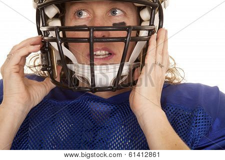 Woman Football Player Helmet