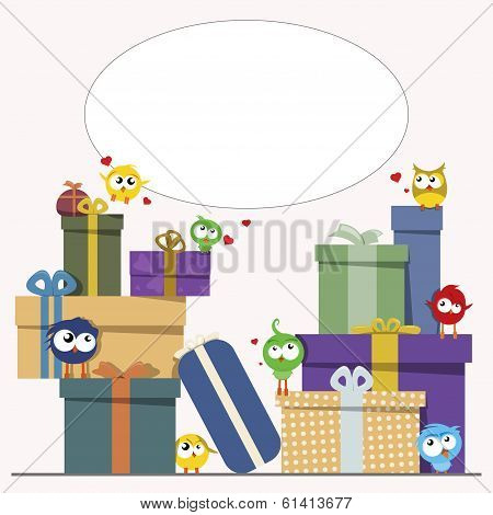 gift boxes and cute birds