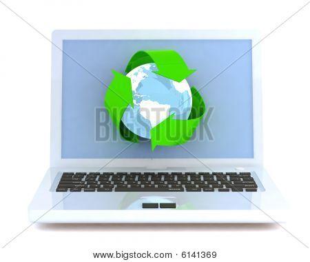 Laptop mit recycling-Zeichen