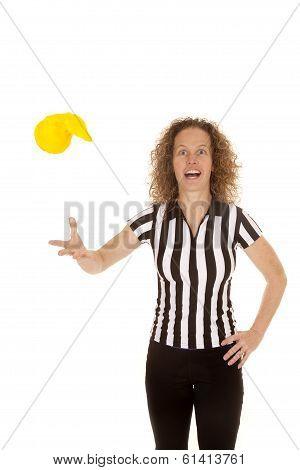 Woman Referee Throw Yellow Flag