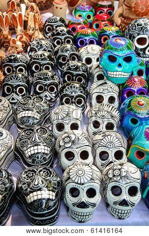 Mexican Day Of The Dead Souvenir Skulls (dia De Muertos)